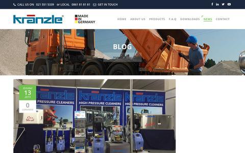 Screenshot of Press Page kranzle.co.za - Blog   High Pressure Cleaning Articles  Kränzle - captured Nov. 27, 2016
