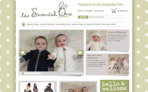 Screenshot of Home Page theessentialone.com - Newborn Baby Clothes UK - New Baby Clothing - Unisex - Online - captured Sept. 25, 2014