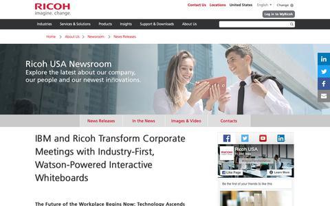 Screenshot of Press Page ricoh-usa.com - IBM and Ricoh Transform Corporate Meetings - captured Jan. 3, 2019