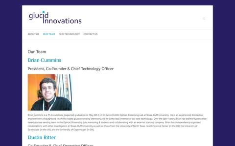 Screenshot of Team Page glucidinnovations.com - Our Team | Glucid Innovations - captured Sept. 30, 2014