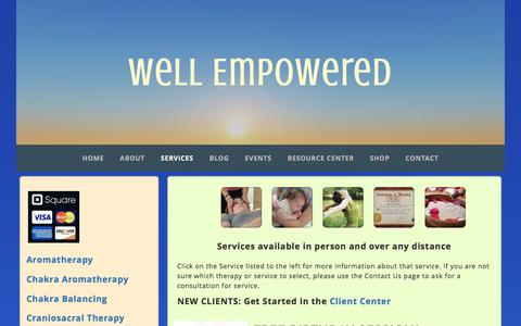 Screenshot of Services Page integrativewholisticsolutions.com - Services - captured Jan. 9, 2016
