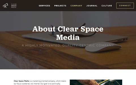 Screenshot of About Page clearspace.media - Company — Clear Space Media - captured Dec. 9, 2015
