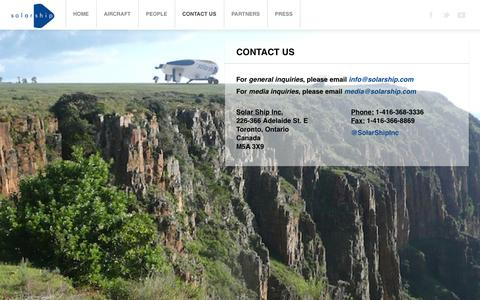 Screenshot of Contact Page solarship.com - Contact Us - captured Oct. 7, 2014