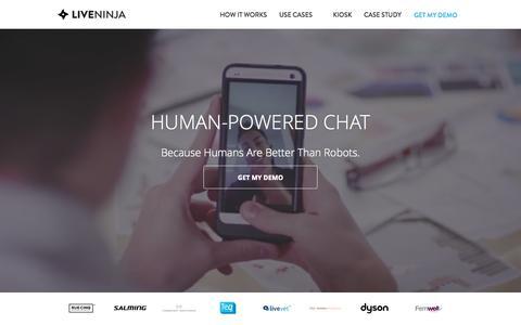 Screenshot of Home Page liveninja.com - LiveNinja | Video Chat Customer Service - captured Nov. 3, 2015