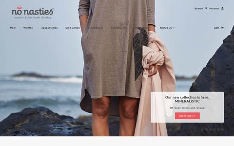 Screenshot of Home Page nonasties.in - No Nasties - 100% Organic Fair Trade Cotton Clothing. Ethical Fashion, Sustainable Clothing. Made In India. - captured Jan. 11, 2016