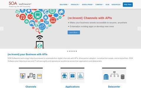 Screenshot of Home Page soa.com - API Management   SOA Governance   API Security   SOA Software - captured July 18, 2014