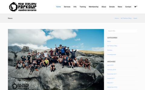Screenshot of Press Page nzparkour.co.nz - News – NZ Parkour - captured Oct. 20, 2018