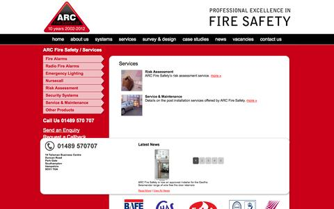 Screenshot of Services Page arcfiresafety.co.uk - ARC Fire Safety Services - captured Oct. 4, 2014