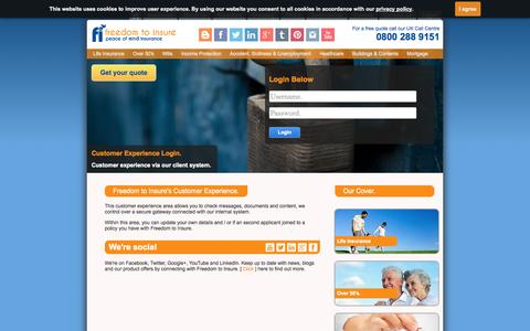 Screenshot of Login Page freedomtoinsure.co.uk - Customer Login, Life Insurance Quotes UK, Freedom to Insure - captured Oct. 29, 2014
