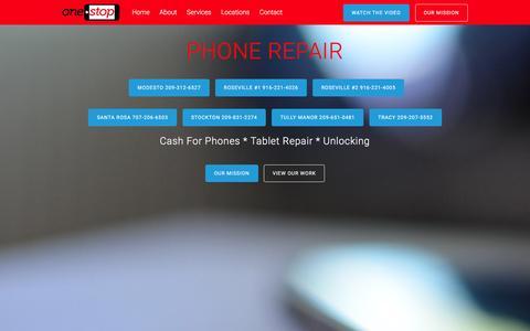 Screenshot of Home Page onestopmobile.com - ONE STOP PHONE REPAIR � Repair Protect Unlock - captured Jan. 10, 2016