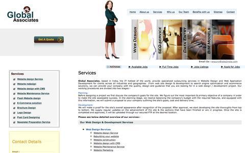 Screenshot of Services Page jobs2india.com - Website Desinging India, Affordable Web Design, Web Design Company, Expert Website Design Services, Brochure Design, Flash Website design, E-commerce website design, Back Office Services - captured Jan. 22, 2016