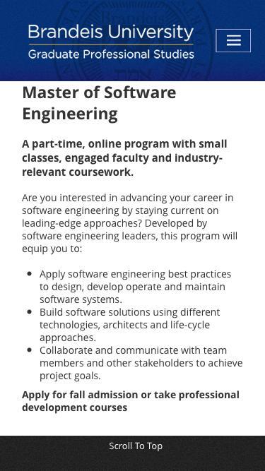 Graduate Professional Studies | Software Engineering | Brandeis University