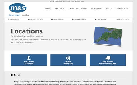 Screenshot of Locations Page mswindows.co - Delivery Locations for Windows, Doors & Sliding Doors - captured Sept. 30, 2014