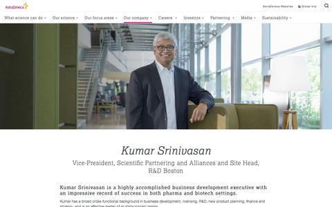 Screenshot of Team Page astrazeneca.com - Kumar Srinivasan - Ambassadors - AstraZeneca - captured May 20, 2017