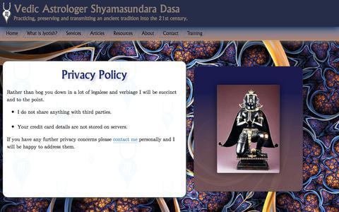 Screenshot of Privacy Page shyamasundaradasa.com - Privacy Policy - captured June 19, 2017