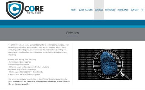 Screenshot of Services Page corenetworksinc.com - Core Network Inc's list of Services. - captured July 16, 2016