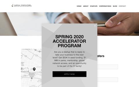 Screenshot of Contact Page capitalinnovators.com - Contact MV — Capital Innovators - captured Oct. 5, 2019