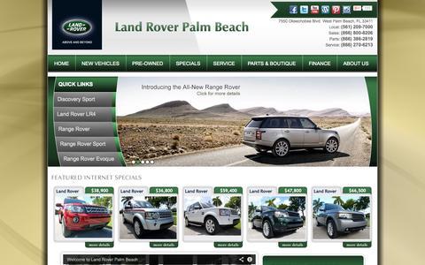 Screenshot of Home Page landroverpalmbeach.com - West Palm Beach, FL Land Rover Dealership | Land Rover Palm Beach | New Land Rover and Used Autos Dealer. - captured Sept. 27, 2014