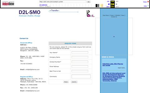 Screenshot of Contact Page archive.org - D2l SMO | Site Management Organization for Clinical Trials in INDIA - Contact Us - captured Oct. 10, 2014