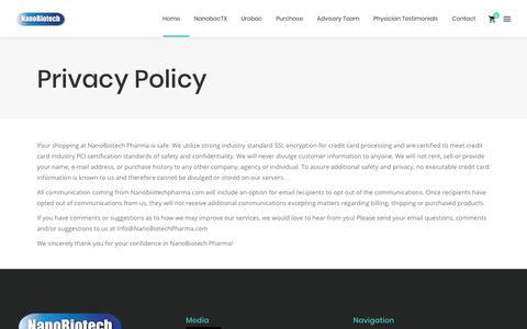 Screenshot of Privacy Page nanobiotechpharma.com - Privacy Policy - NanoBiotech Pharma - NanobacTX - Urobac - Nanobiotics - captured Nov. 2, 2017