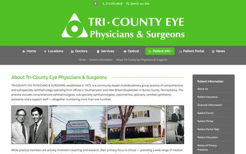 Screenshot of About Page tricountyeye.com - About Tri-County Eye Physcians & Surgeons - captured Feb. 27, 2016