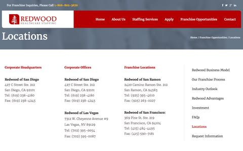 Screenshot of Locations Page redwoodhcs.com - Locations - Redwood Healthcare Staffing - captured Feb. 18, 2016