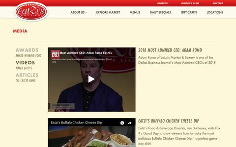 Screenshot of Press Page eatzis.com - Media - Eatzis - captured Sept. 26, 2018