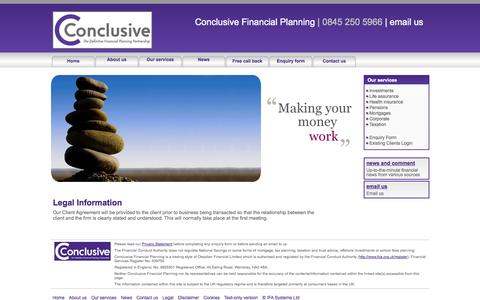 Screenshot of Terms Page conclusive.org.uk - Legal information   Conclusive Financial Planning - captured Oct. 2, 2014