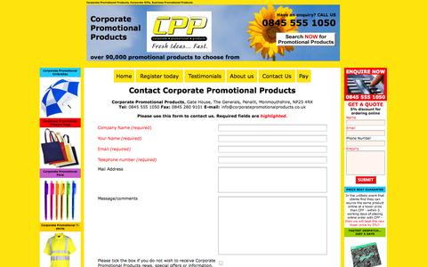 Screenshot of Contact Page corporatepromotionalproducts.co.uk - Contact Corporate Promotional Products - captured Sept. 30, 2014