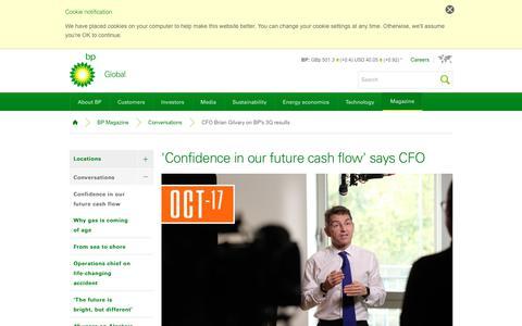 Screenshot of bp.com - 'Confidence in our future cash flow' says CFO | Conversations | BP Magazine | BP - captured Nov. 24, 2017