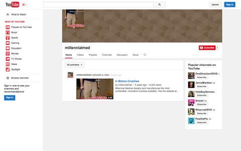 Screenshot of YouTube Page youtube.com - millennialmed  - YouTube - captured Oct. 26, 2014