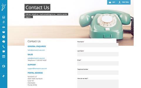 Screenshot of Contact Page sonocent.com - Contact Us - US |  Sonocent - captured Dec. 3, 2016