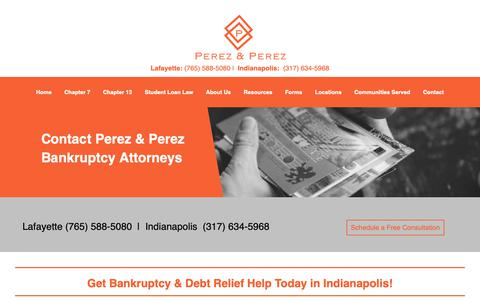 Screenshot of Contact Page perezlawindiana.com - Contact Bankruptcy Attorneys - Indianapolis IN | Perez & Perez Bankruptcy - captured Sept. 27, 2018
