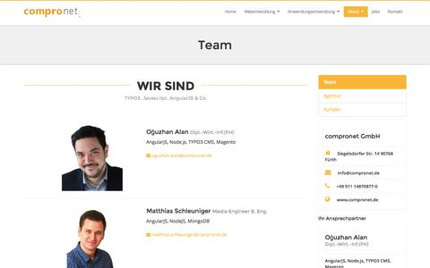 Screenshot of Team Page compronet.de - Team: compronet GmbH - Agentur für Kommunikation und Webentwicklung - AngularJS // Node.js // MongoDB // express.js // TYPO3 CMS - captured June 11, 2016