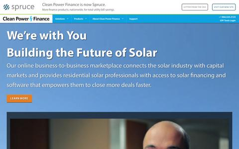 Screenshot of Home Page cleanpowerfinance.com - Clean Power Finance - Fueling Solar's FutureClean Power Finance - captured Jan. 6, 2016