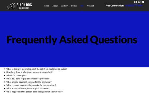 Screenshot of FAQ Page blackdogbailbonds.com - Frequently Asked Qeustions | Black Dog Bail Bonds - captured June 1, 2017