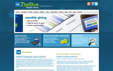 Screenshot of About Page zipgive.com - Mobile Fundraising | ZipGive - captured Oct. 10, 2014