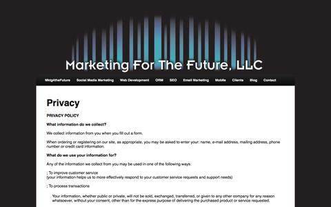 Screenshot of Privacy Page mktg4thefuture.com - Privacy - captured Sept. 30, 2014