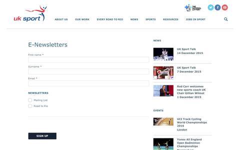 Screenshot of Signup Page uksport.gov.uk - E-Newsletters | UK Sport - captured Dec. 15, 2015