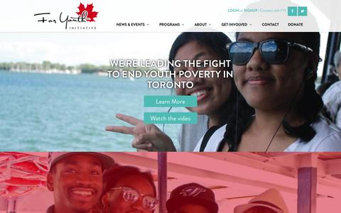 Screenshot of Home Page foryouth.ca - For Youth Initiative - captured Oct. 6, 2014