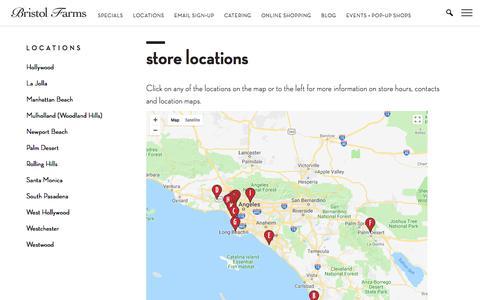 Screenshot of Locations Page bristolfarms.com - Store Locations | Bristol Farms - captured Aug. 4, 2018