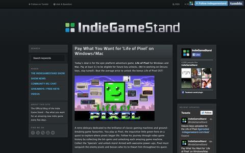 Screenshot of Blog indiegamestand.com - IndieGameStand Blog - captured Sept. 25, 2014