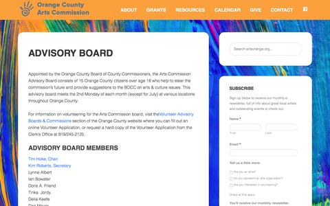 Screenshot of Team Page artsorange.org - Advisory Board - Orange Co. Arts Commission - captured Jan. 21, 2017