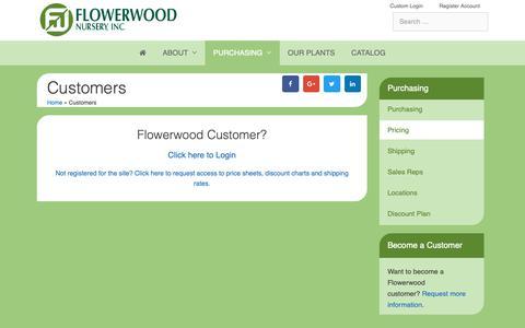Screenshot of Pricing Page flowerwood.com - Customers - Flowerwood Nursery, Inc. - captured Oct. 10, 2018
