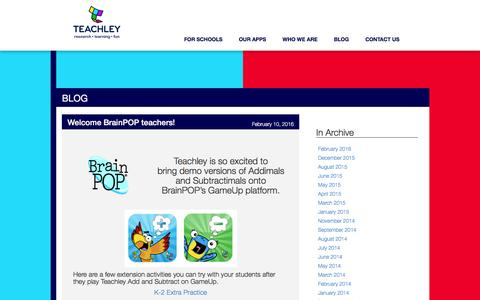 Screenshot of Blog teachley.com - Teachley Analytics | Learning, research, fun - captured Feb. 14, 2016
