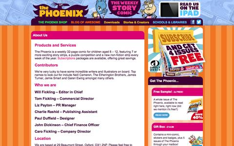 Screenshot of About Page thephoenixcomic.co.uk - About Us - The Phoenix Comic - captured Sept. 30, 2014