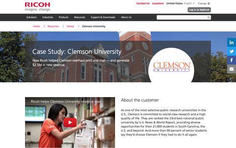 Screenshot of Case Studies Page ricoh-usa.com - Clemson University - captured Jan. 3, 2019
