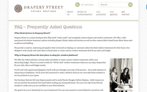 Screenshot of FAQ Page draperystreet.com - Frequently Asked Questions - Drapery Street - captured Aug. 2, 2016