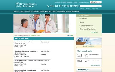 Screenshot of Maps & Directions Page dhr-rgv.com - Maps & Directions | Doctors Hospital at Renaissance - captured Nov. 24, 2016