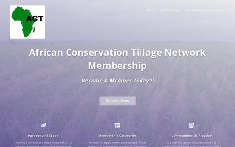 Screenshot of Signup Page act-africa.org - African Conservation Tillage Network Membership - captured Nov. 30, 2018